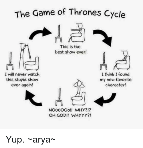 whyyy: The Game of Thrones cycle  This is the  best show ever!  I will never watch  I think I found  this stupid show  my new favorite  ever again!  character!  NOOOOOO!! WHY?!?  OH GOD!! WHYYY?! Yup.  ~arya~