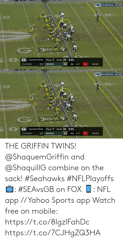 app: THE GRIFFIN TWINS!  @ShaquemGriffin and @ShaquillG combine on the sack! #Seahawks #NFLPlayoffs  📺: #SEAvsGB on FOX 📱: NFL app // Yahoo Sports app Watch free on mobile: https://t.co/8lgzlFahDc https://t.co/7CJHgZQ3HA