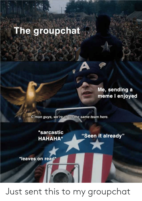 "Meme, Team, and All: The groupchat  Me, sending  meme l enjoyed  a  C'mon guys, we're all on the same team here.  *sarcastic  ""Seen it already""  HAHAHA*  *leaves on read* Just sent this to my groupchat"