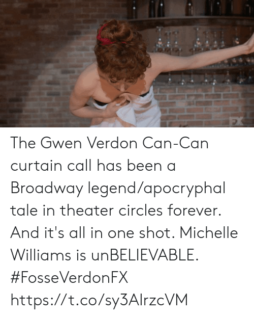 Circles: The Gwen Verdon Can-Can curtain call has been a Broadway legend/apocryphal tale in theater circles forever. And it's all in one shot. Michelle Williams is unBELIEVABLE. #FosseVerdonFX https://t.co/sy3AIrzcVM