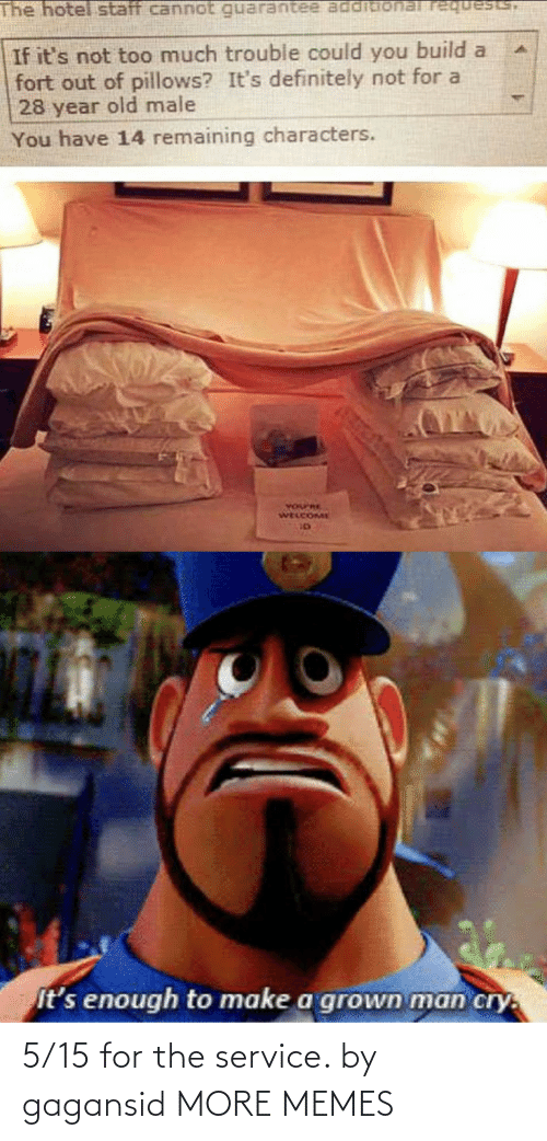 Cannot: The hotel staff cannot requests,  If it's not too much trouble could you build a  fort out of pillows? It's definitely not for a  28 year old male  You have 14 remaining characters.  YOurRE  WELCOME  It's enough to make a grown man cry. 5/15 for the service. by gagansid MORE MEMES