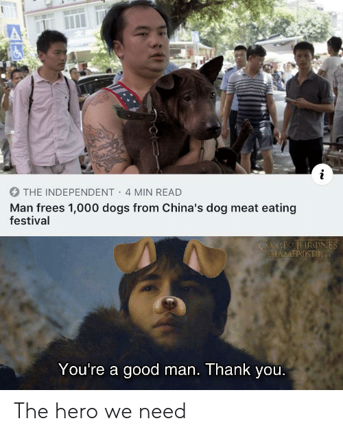 Independent: THE INDEPENDENT 4 MIN READ  Man frees 1,000 dogs from China's dog meat eating  festival  MEOHRONES  SHAMΕΡ) ΤΙΝΟ  You're a good man. Thank you. The hero we need
