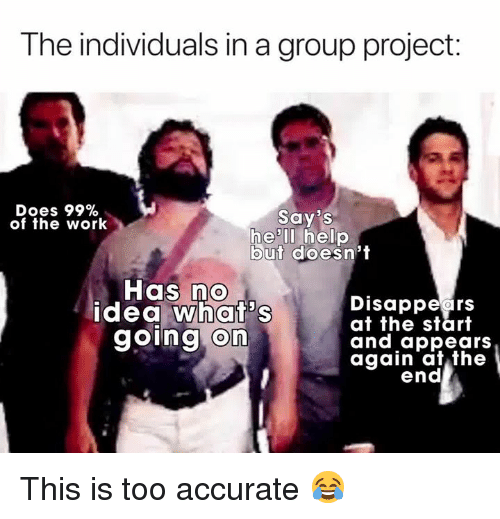 Work, Help, and Hell: The individuals in a group project:  Does 99%  of the work  Say's  he'll help  but doesn't  Has no  idea what's  going on  Disappears  at the start  and appears  again at the  end This is too accurate 😂