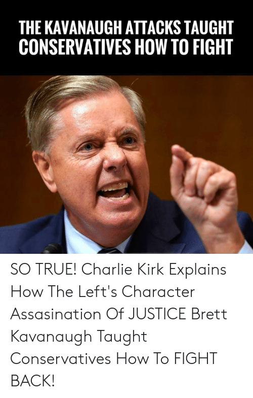 Charlie, Memes, and True: THE KAVANAUGH ATTACKS TAUGHT  CONSERVATIVES HOW TO FIGHT SO TRUE! Charlie Kirk Explains How The Left's Character Assasination Of JUSTICE Brett Kavanaugh Taught Conservatives How To FIGHT BACK!