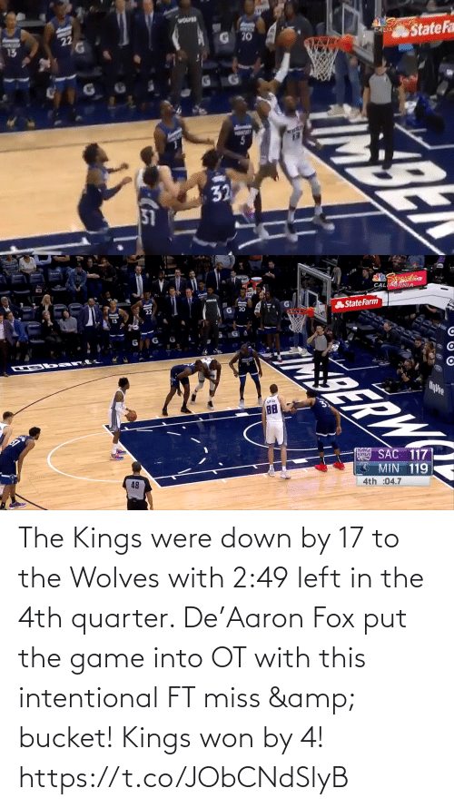 Put: The Kings were down by 17 to the Wolves with 2:49 left in the 4th quarter.   De'Aaron Fox put the game into OT with this intentional FT miss & bucket!   Kings won by 4!    https://t.co/JObCNdSlyB