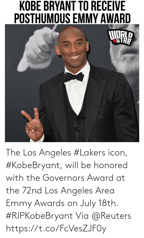 Https T: The Los Angeles #Lakers icon, #KobeBryant, will be honored with the Governors Award at the 72nd Los Angeles Area Emmy Awards on July 18th. #RIPKobeBryant Via @Reuters https://t.co/FcVesZJF0y