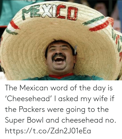 Going: The Mexican word of the day is 'Cheesehead'  I asked my wife if the Packers were going to the Super Bowl and cheesehead no. https://t.co/Zdn2J01eEa