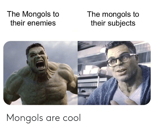 Cool, Enemies, and Their: The Mongols to  their enemies  The mongols to  their subjects Mongols are cool