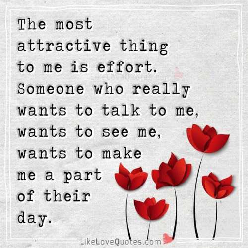 Memes, 🤖, and Com: The most  attractive thing  to me is effort.  Someone who really  wants to talk to me,  wants to see me,  wants to make  me a part  of their  day  LikeLoveQuotes.com