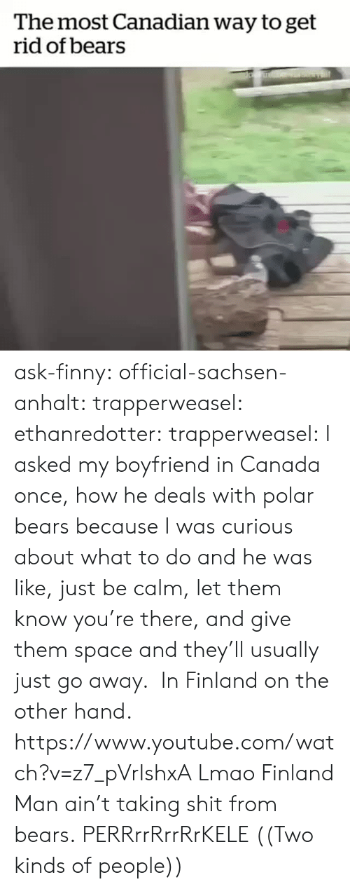 Lmao, Shit, and Tumblr: The most Canadian way to get  rid of bears ask-finny: official-sachsen-anhalt:  trapperweasel:   ethanredotter:  trapperweasel: I asked my boyfriend in Canada once, how he deals with polar bears because I was curious about what to do and he was like, just be calm, let them know you're there, and give them space and they'll usually just go away.  In Finland on the other hand. https://www.youtube.com/watch?v=z7_pVrIshxA  Lmao Finland Man ain't taking shit from bears.   PERRrrRrrRrKELE  ((Two kinds of people))