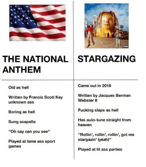 """Ass, Fucking, and Heaven: THE NATIONAL STARGAZING  ANTHEM  Came out in 2018  Old as hell  Written by Francis Scott Key  Written by Jacques Bermarn  unknown ass  Boring as hell  Sung acapella  """"Oh say can you see""""  Played at lame ass sport  Webster lI  Fucking slaps as hel  Has auto-tune straight from  heaven  """"Rollin', rollin', rollin', got me  stargazin' (yeah)""""  games  Played at lit ass parties"""