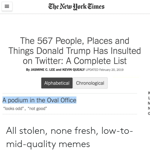 "Donald Trump: The New HorkEimes  The 567 People, Places and  Things Donald Trump Has Insulted  on Twitter: A Complete List  By JASMINE C. LEE and KEVIN QUEALY UPDATED February 20, 2019  Alphabetical  Chronological  A podium in the Oval Office  ""looks odd"" , ""not good""  0 All stolen, none fresh, low-to-mid-quality memes"