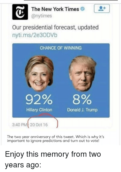 Forecast: The New York Times  @nytimes  Our presidential forecast, updated  nyti.ms/2e30DVb  CHANCE OF WINNING  92%  8%  Hillary Clinton  Donald J. Trump  3:40 PMt 20 Oct 16  The two year anniversary of this tweet. Which is why it's  important to ignore predictions and turn out to vote! Enjoy this memory from two years ago: