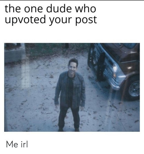 Dude, Irl, and Me IRL: the one dude who  upvoted your post Me irl
