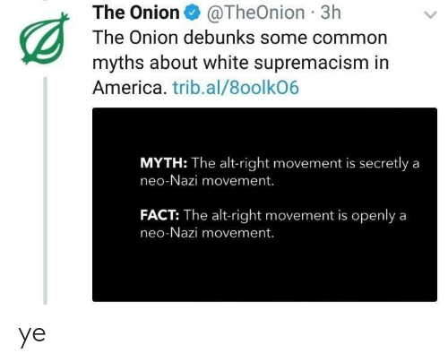 alt-right: The Onion@TheOnion 3h  The Onion debunks some common  myths about white supremacism in  America. trib.al/8oolkO6  MYTH: The alt-right movement is secretly a  neo-Nazi movement.  FACT: The alt-right movement is openlya  neo-Nazi movement. ye