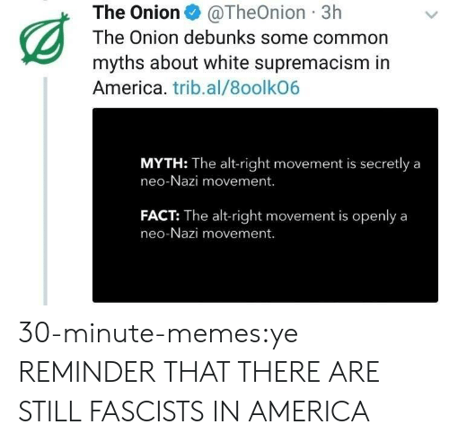 alt-right: The Onion@TheOnion 3h  The Onion debunks some common  myths about white supremacism in  America. trib.al/8oolkO6  MYTH: The alt-right movement is secretly a  neo-Nazi movement.  FACT: The alt-right movement is openlya  neo-Nazi movement. 30-minute-memes:ye REMINDER THAT THERE ARE STILL FASCISTS IN AMERICA
