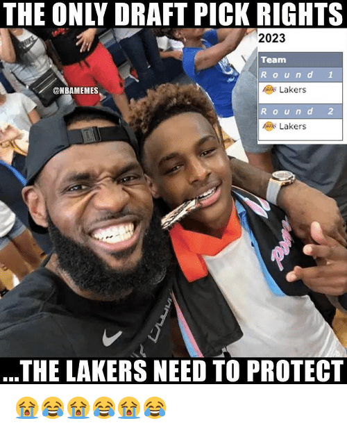 Los Angeles Lakers, Nba, and Team: THE ONLY DRAFT PICK RIGHTS  2023  Team  Round 1  @NBAMEMES  Lakers  Round 2  Lakers  .THE LAKERS NEED TO PROTECT 😭😂😭😂😭😂