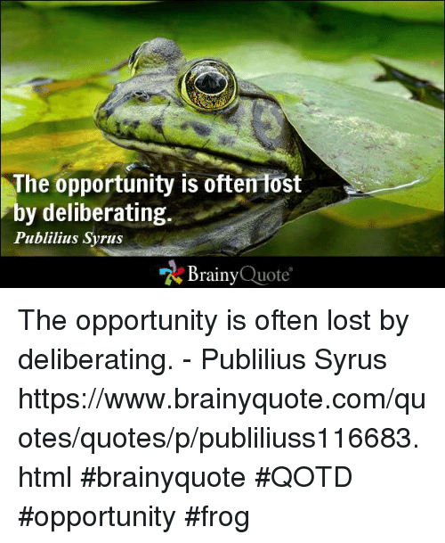Memes, 🤖, and Frog: The opportunity is often lost  by deliberating  Publilius Syrus  Brainy  Quote The opportunity is often lost by deliberating. - Publilius Syrus https://www.brainyquote.com/quotes/quotes/p/publiliuss116683.html #brainyquote #QOTD #opportunity #frog