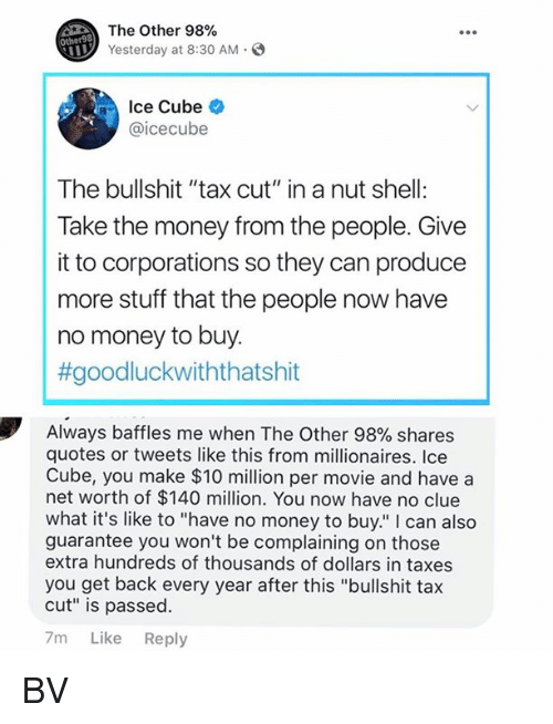 """Net Worth: The Other 98%  Yesterday at 8:30 AM.  Other98  Ice Cube  @icecube  The bullshit """"tax cut"""" in a nut shell:  Take the money from the people. Give  it to corporations so they can produce  more stuff that the people now have  no money to buy.  #goodluckwiththatshit  Always baffles me when The Other 98% shares  quotes or tweets like this from millionaires. Ice  Cube, you make $10 million per movie and have a  net worth of $140 million. You now have no clue  what it's like to """"have no money to buy."""" I can also  guarantee you won't be complaining on those  extra hundreds of thousands of dollars in taxes  you get back every year after this """"bullshit tax  cut"""" is passed.  7m Like Reply BV"""