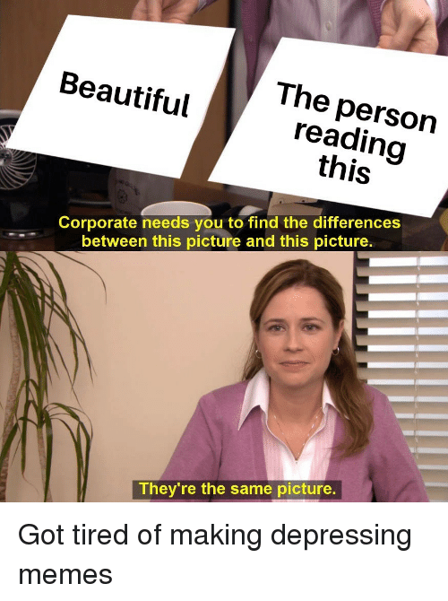 Beautiful, Memes, and Got: The person  reading  this  Beautiful  Corporate needs you to find the differences  between this picture and this picture  They're the same picture. Got tired of making depressing memes