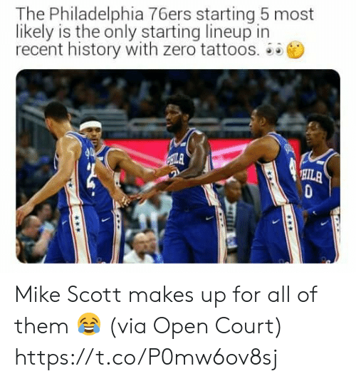 Philadelphia 76ers: The Philadelphia 76ers starting 5 most  likely is the only starting lineup in  recent history with zero tattoos.  ILA  HILA Mike Scott makes up for all of them 😂  (via Open Court) https://t.co/P0mw6ov8sj