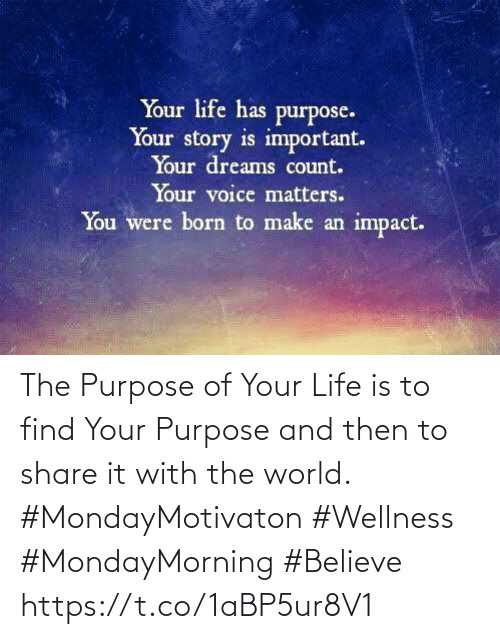 Love for Quotes: The Purpose of Your Life is to find Your Purpose and then to share it with the world.   #MondayMotivaton #Wellness  #MondayMorning #Believe https://t.co/1aBP5ur8V1