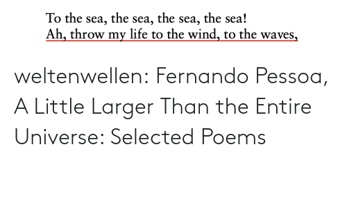 Larger: the sea!  the  the  To the sea,  Ah, throw my life to the wind, to the waves,  sea,  sea, weltenwellen:  Fernando Pessoa, A Little Larger Than the Entire Universe: Selected Poems