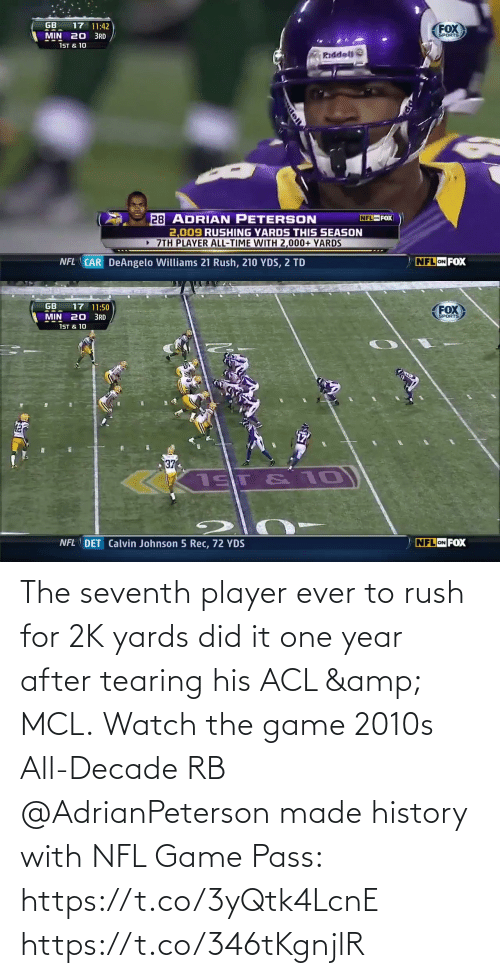The Game: The seventh player ever to rush for 2K yards did it one year after tearing his ACL & MCL.  Watch the game 2010s All-Decade RB @AdrianPeterson made history with NFL Game Pass: https://t.co/3yQtk4LcnE https://t.co/346tKgnjlR