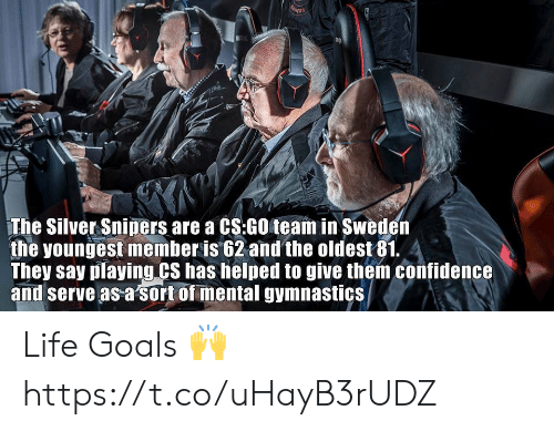 Confidence, Goals, and Life: The Silver Sniners are a CS:GO team in Sweder  the youngest member is 62 and the oldest81. 4  They say playing CS has helped to give them confidence  and serve as a sort of mental gymnastics Life Goals 🙌 https://t.co/uHayB3rUDZ