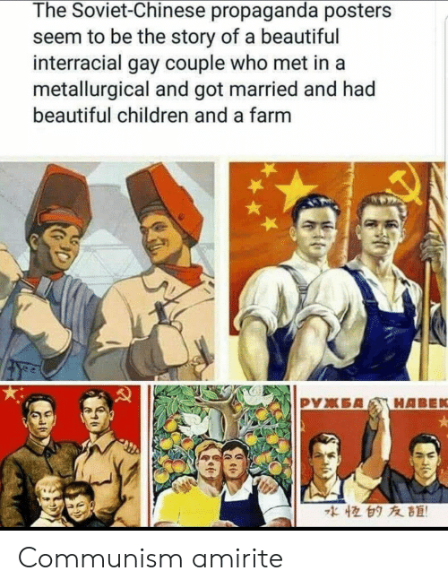 Beautiful, Children, and Interracial: The Soviet-Chinese propaganda posters  seem to be the story of a beautiful  interracial gay couple who met in a  metallurgical and got married and had  beautiful children and a farm  な恒白タ友距! Communism amirite