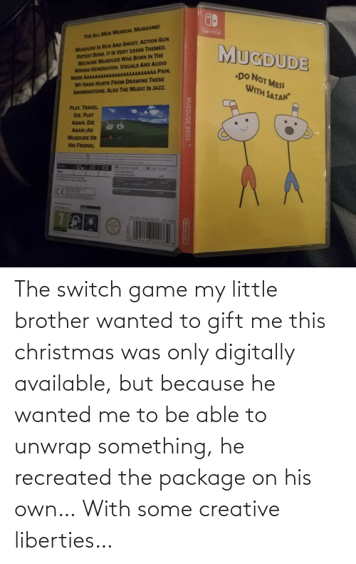 package: The switch game my little brother wanted to gift me this christmas was only digitally available, but because he wanted me to be able to unwrap something, he recreated the package on his own… With some creative liberties…