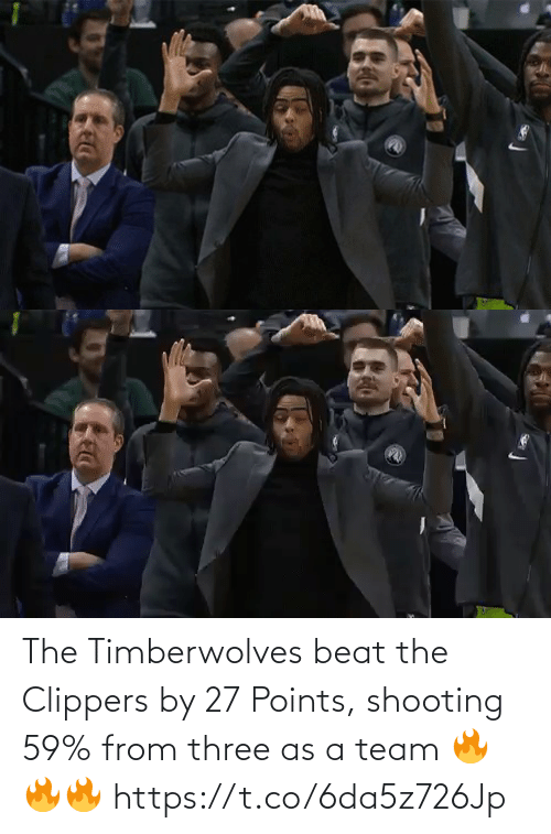 three: The Timberwolves beat the Clippers by 27 Points, shooting 59% from three as a team  🔥🔥🔥 https://t.co/6da5z726Jp