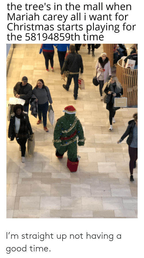 mariah carey: the tree's in the mall when  Mariah carey all i want for  Christmas starts playing for  the 58194859th time I'm straight up not having a good time.