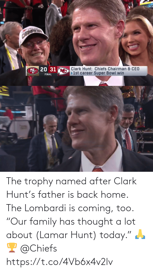 """trophy: The trophy named after Clark Hunt's father is back home. The Lombardi is coming, too.  """"Our family has thought a lot about (Lamar Hunt) today."""" 🙏🏆 @Chiefs https://t.co/4Vb6x4v2lv"""