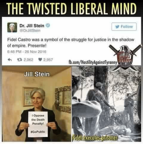 Ÿ˜': THE TWISTED LIBERAL MIND  Dr. Jill Stein  y Follow  @Drill Stein  Fidel Castro was a symbol of the struggle for justice inthe shadow  of empire. Presente!  8246 PM 26 Nov 2018  ta 2,062  2,957  fb.com/HostilityAgainstlyronny IRA  Jill Stein  Oppose  the Death  Penalty!  RGoPublic  her