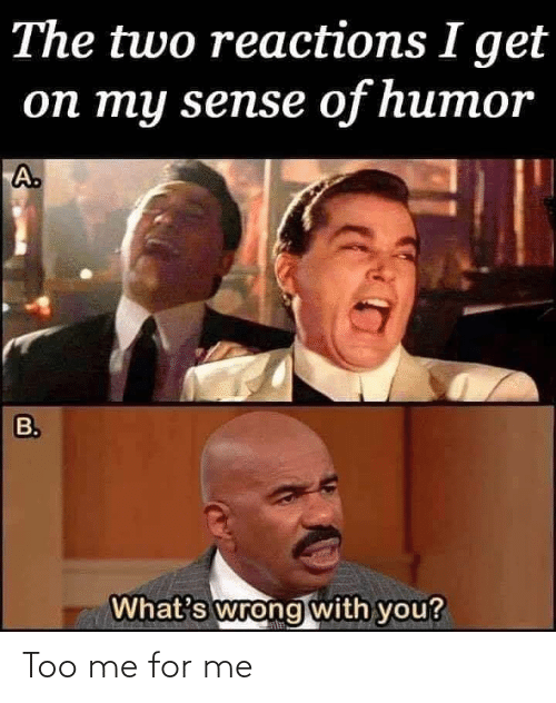 humor: The two reactions I get  оп ту sensе of humor  A.  B.  What's wrong with you? Too me for me