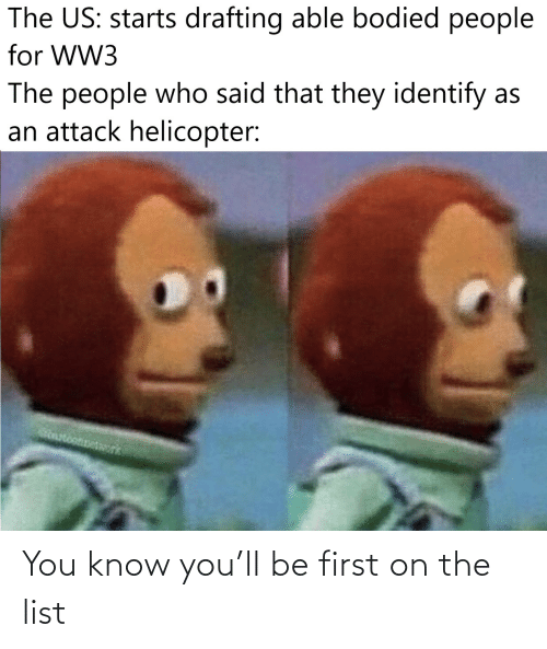 Starts: The US: starts drafting able bodied people  for WW3  The people who said that they identify as  an attack helicopter:  otonetork You know you'll be first on the list