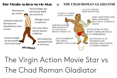Africa, Dad, and Gladiator: The Virgin Action Movie Star  THE CHAD ROMAN GLADIATOR  VS  Over-privileged, got  job because daddy  A SLAVE, STARTED  FROM THE BOTTOM  Advocates for  LITERALLY NAMED  gun control  was a producer  AFTER A WEAPON  AFRICA PROCONSULARIS  BORN AND RAISED,  Willingly moved  Unhealthy Hollywood  diet keeps him  dehydrated to show  ONLY WENT TO ROME IN  to California  CHAINS  GORGEOUS DAD  BOD, MASS FULLY  Can't even talk to  muscles  FUCKS SO MUCH THAT  CULTIVATED TO  women because  PROTECT FROM CUTS  PEOPLE THINK HIS SWEAT  of #MeToo  IS AN APHRODISIAC  Scared of danger,  GETS STABBED IN  Gets political by  GETS POLITICAL BY  let stunt double  THE ARENA,  MURDERING HIS  saying platitudes  DOESN'T EVEN CARE  MASTERS AND STARTING  risk his life instead  at the Oscars  AN ARMED UPRISING  HOLLYWOOD  SPOR The Virgin Action Movie Star vs The Chad Roman Gladiator