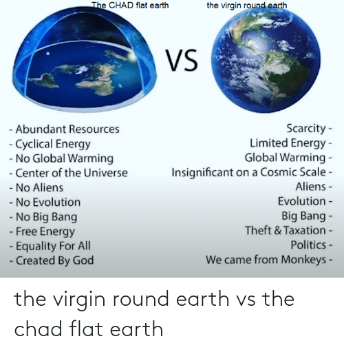 Virgin: the virgin round earth vs the chad flat earth