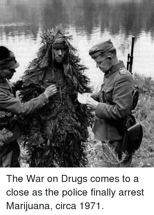 war on drugs: The War on Drugs comes to a close as the police finally arrest Marijuana, circa 1971.