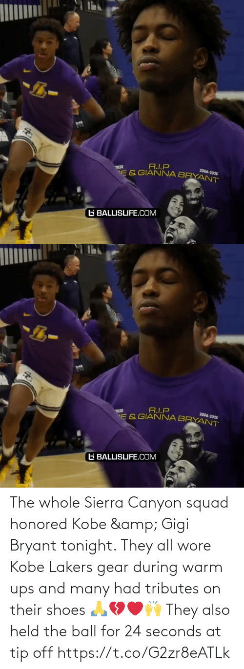 Off: The whole Sierra Canyon squad honored Kobe & Gigi Bryant tonight. They all wore Kobe Lakers gear during warm ups and many had tributes on their shoes 🙏💔❤️🙌 They also held the ball for 24 seconds at tip off https://t.co/G2zr8eATLk