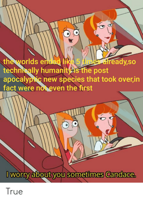 True, Time, and Species: the worlds ended like 5 time already,so  technically humanits the post  apocalypic new species that took over,in  fact were not even the first  I worry about you sometimes Candace. True