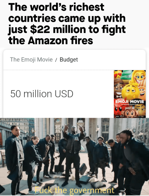 Budget: The world's richest  countries came up with  just $22 million to fight  the Amazon fires  The Emoji Movie  Budget  50 million USD  Емол MOVIE  JULY 26  ack the government
