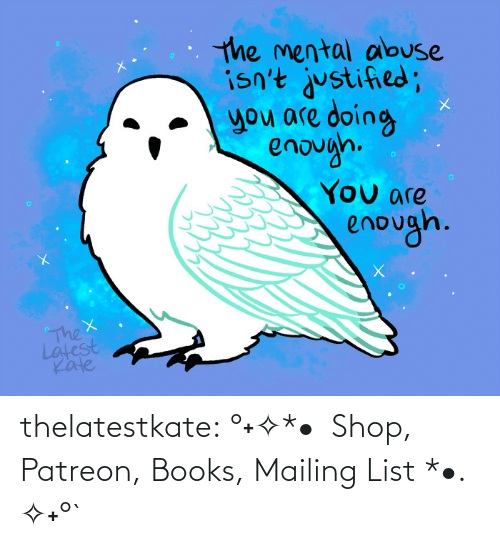 Manage: thelatestkate:    °˖✧*• Shop, Patreon, Books, Mailing List *•. ✧˖°`