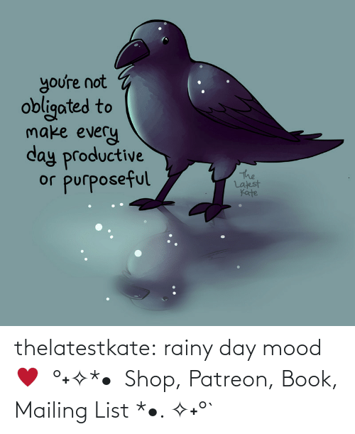 list: thelatestkate:  rainy day mood ♥  °˖✧*•  Shop, Patreon, Book, Mailing List *•. ✧˖°`