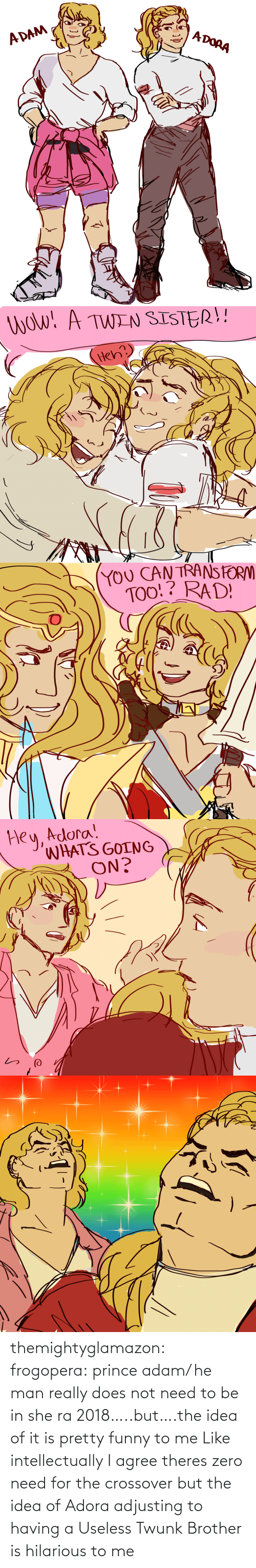 useless: themightyglamazon: frogopera: prince adam/ he man really does not need to be in she ra 2018…..but….the idea of it is pretty funny to me   Like intellectually I agree theres zero need for the crossover but the idea of Adora adjusting to having a Useless Twunk Brother is hilarious to me