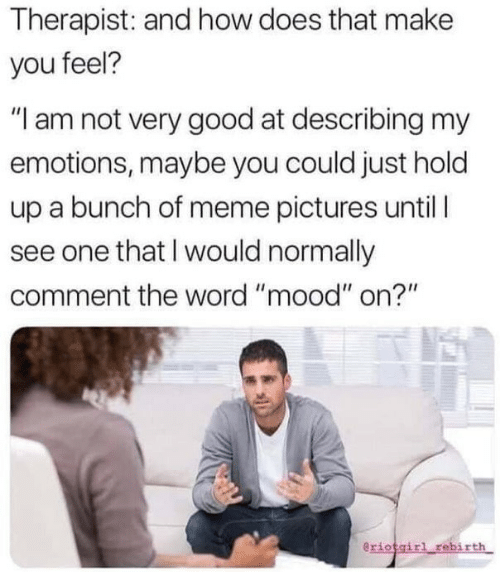 "Meme, Mood, and Good: Therapist: and how does that make  you feel?  ""I am not very good at describing my  emotions, maybe you could just hold  up a bunch of meme pictures until  see one that I would normally  comment the word ""mood"" on?""  eriotgirl rebirth"