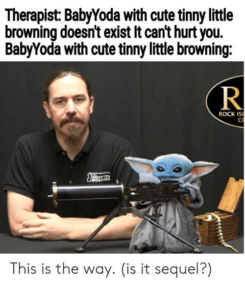 Cute, Rock, and Browning: Therapist: BabyYoda with cute tinny little  browning doesn't exist It can't hurt you.  BabyYoda with cute tinny little browning:  R  ROCK ISI  CO  OREOTEN  WEXPONS This is the way. (is it sequel?)