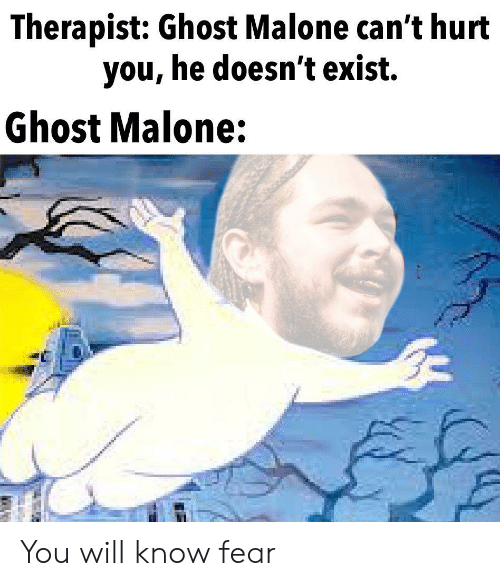 Reddit, Ghost, and Fear: Therapist: Ghost Malone can't hurt  you, he doesn't exist.  Ghost Malone: You will know fear