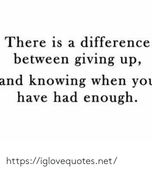 Net, Knowing, and You: There is a difference  between giving up,  and knowing when you  have had enough. https://iglovequotes.net/